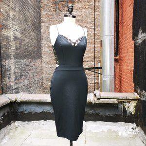 bebe Women Sexy Bodycon Lace Back Knit Party Dress